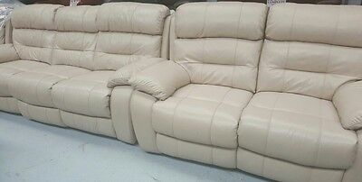 Real leather pebble grey 3+2+1 electric reclining sofas