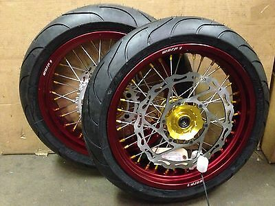"Warp 9 17"" Supermoto Wheels with Michelin Tires CR125 CR250 CRF250R/X CRF450R/X"