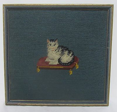 Antique 19th Century Cat Woolwork Sampler Picture Needlepoint