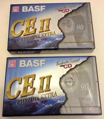 2 x BASF 90 min CE II CHROME EXTRA POSITION HIGH BLANK CASSETTE TAPES NEW