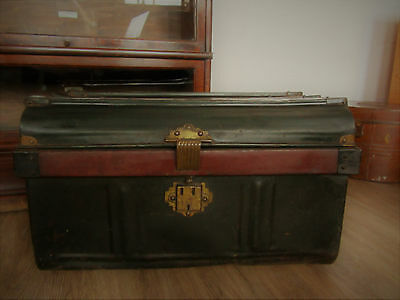 Vintage Metal Steamer Shipping Travel railway Trunk Chest toy Box Storage