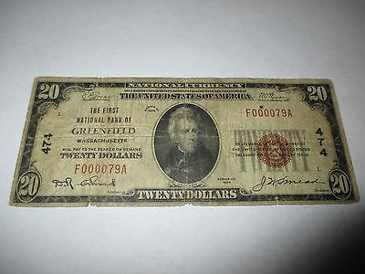 $20 1929 Greenfield Massachusetts MA National Currency Bank Note Bill Ch. #474