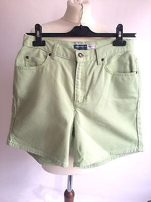 Vintage 1980s High Waisted Liz Claiborne Green Denim Shorts Size 8 Waist 30