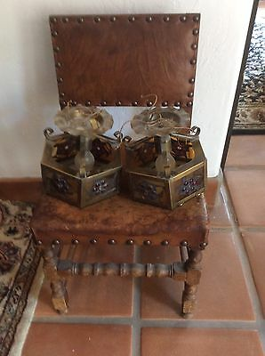 Antique 2 Lot Brass Light Set Rare California Lamp Mission Craftsman Spanish
