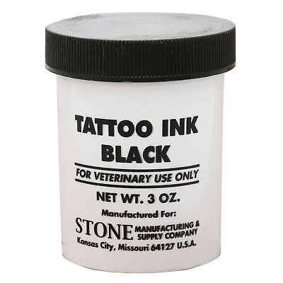 Stone Tattoo Ink Black 3 oz Jar *Easy to work with* Superior Quality Animal Use