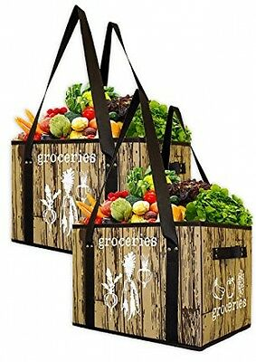 Earthwise Deluxe Collapsible Reusable Shopping Box Bag with Reinforced Bottom by EarthWise