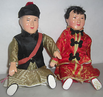 Vintage ASIAN Chinese DOLLS Man and Woman Composition  9inches tall