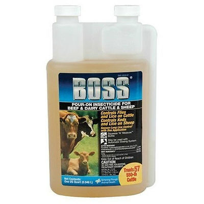 Boss Insecticide Pour-On Cattle Dairy Sheep (Qt) Lice fly Treatment