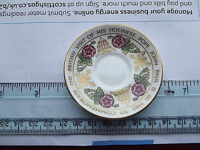 Miniature Spode Cup & Saucer Commemmorating Pope's Visit in 1982