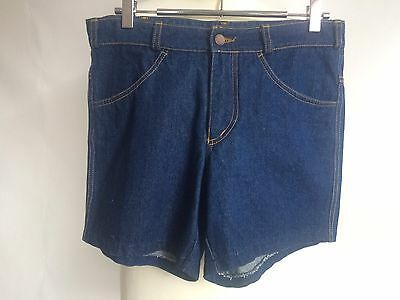 True Vintage Original 1970s Unicol Blue Denim Shorts Hotpants 30/31 inch Waist