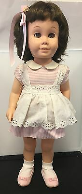 Vintage Chatty Cathy Doll #1 1961 Working Voicebox Brunette Lt Brown Eyes Pink
