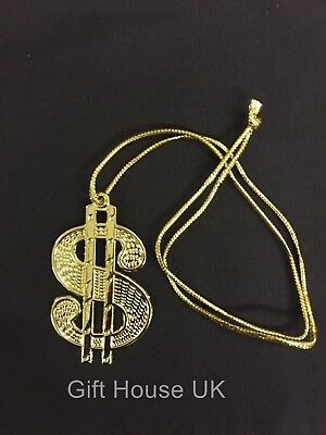 GOLD DOLLAR SIGN GANGSTER PIMP 60s 70s BIG DADDY STAG FANCY DRESS ACCESSORIES B2