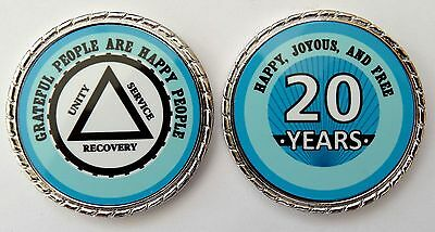 Alcoholics Anonymous 20 Yr. Aqua Silver Rope Edge Sobriety Coin Chip 1 3/4""