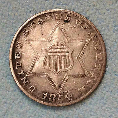 1854 Three Cent Silver VF-XF Sharp FREE SHIPPING