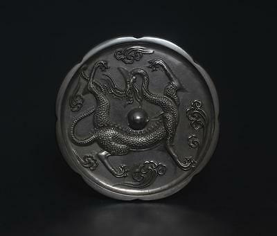 Very Rare Chinese Old Bronze Carved Mirror-Dragon s262