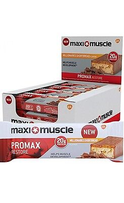 Maximuscle Promax High Protein Bar, 60 g - Millionaire Shortbread, Pack of 12 -