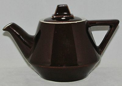 HALL CHINA 2 Cup Porcelain Dark Brown Geometric INDIVIDUAL BUFFET TEAPOT