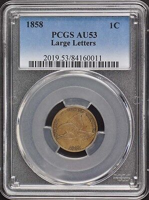 1858 1C Large Letters Flying Eagle Cent PCGS AU53