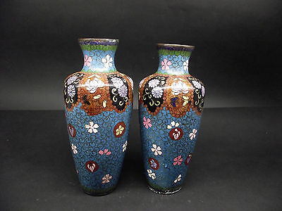 Antique Pair of Japanese bronze cloisonne enamelled vases, Meiji period