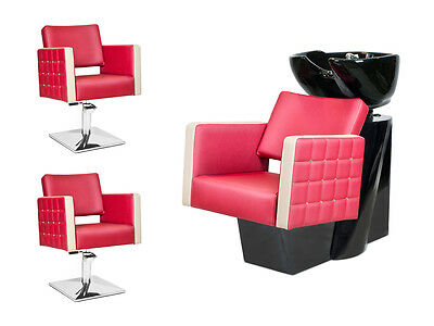 SALON HAIRDRESSING STYLING FURNITURE SETS Backwash Shampoo Styling Chairs GLAM !