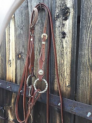 "Harness Leather Bridle Light Colored With Dots Silver Snaffle & 7'6"" Split Reins"