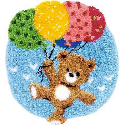"""Vervaco Shaped Rug Latch Hook Kit 22""""X24.75"""" Bear With Balloons 499991971268"""