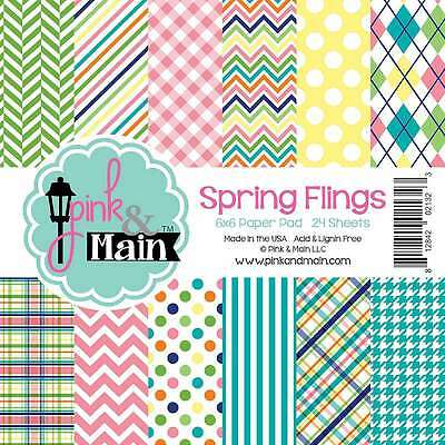 "Pink & Main Double-Sided Paper Pad 6""X6"" 24/Pkg Spring Flings, 6  812842021323"