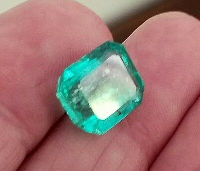 6.82CT NATURAL COLOMBIAN EMERALD LOOSE STONE 12X11mm GEMSTONE