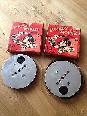 2 Vintage Disney Mickey Mouse Pathescope 9.5mm Films
