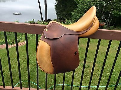 """17.5"""" Prestige Hippos Jumping Saddle, Wool Flocked,narrow Fit, Suit High Withers"""