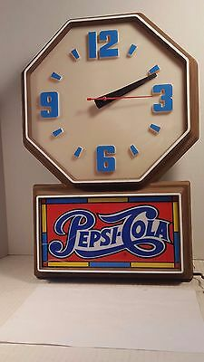 PARTS or REPAIR Vintage RARE Wall Clock Light PEPSI-COLA by Impact International