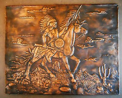 Vintage Embossed Folk Art Copper Plaque Native American Chief Warrior Horse NPS