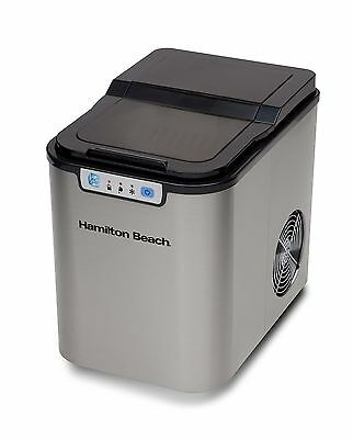 Hamilton Beach Portable Ice Maker, Black with Stainless Steel