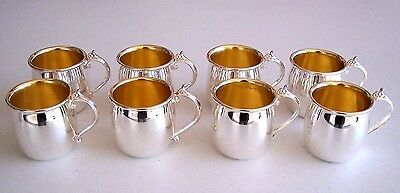 8 Towle Silverplate Silver Plated Punch Bowl Cups Gold Tone Inside