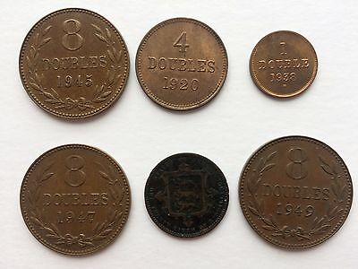 Lot 6x coins GUERNSEY Doubles Coinage + JERSEY 1/26 Shilling 1871