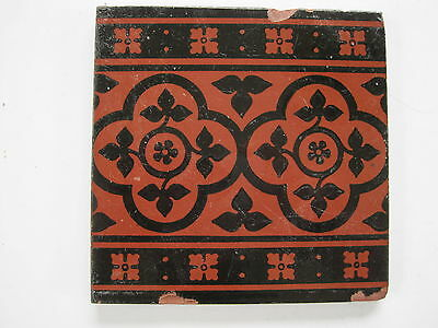 Antique Victorian Minton Hollins Black On Red Clay  Border Tile C.1895