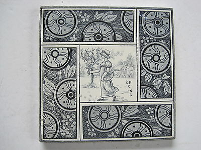 "ANTIQUE VICTORIAN T & R BOOTE  KATE GREENAWAY  ""SEASONS""  ""SPRING""  TILE  c1881"