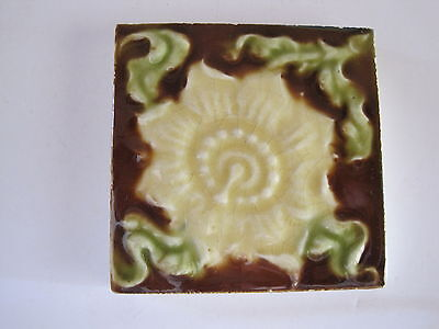 ANTIQUE VICTORIAN MAJOLICA GLAZED WALL TILE - PASSION FLOWER? c.1890