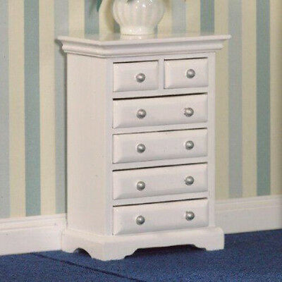 Dolls House Miniature 1:12th Scale White Chest Of 6 Drawers