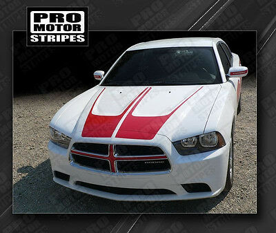 Dodge Charger 2011-2014 Hood Accent Scallop Crown Stripes Decals (Choose Color)