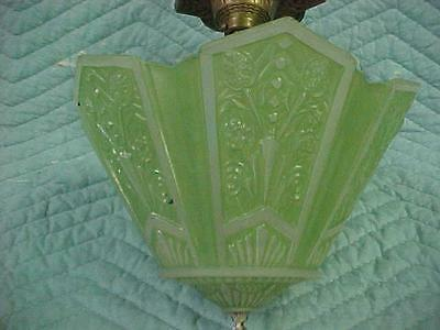 Vintage Art Deco  Single Light Ceiling Fixture w Green Glass Shade