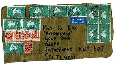 Hong Kong 1987 Year of the rabbit $5 11 copies on a single piece from a parcel