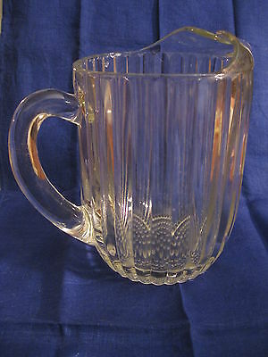 Vintage Jeannette Clear Glass Pitcher National Ribbed Hobnail Bottom Ice Lip EVC