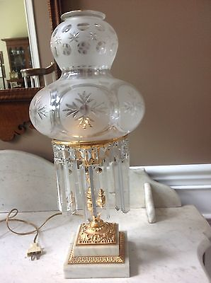 Antique Astral Turban Shade Lamp Brass w/ extra Copper Metal Sinumbra/ Argand