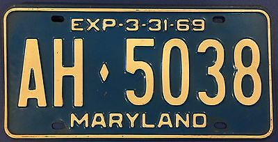 Vintage License Plate Maryland 1969 White on Blue