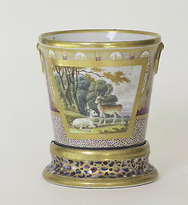 English 18thC Coalport Porcelain Root Pot on Stand - painted pastoral scene