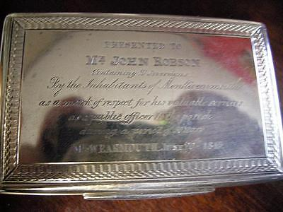 Fab Engraved Larger English Sterling Silver Snuff Box by Francis Clark 1838