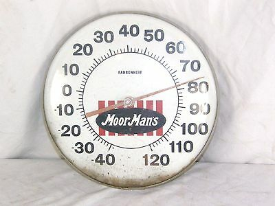 "Vintage MoorMan's Feed Advertising Thermometer Rusty Plastic Front 12"" Dia."