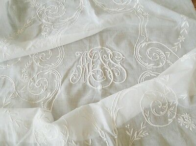Circa 1900, Fine Lawn Bedspread W/ornate Whitework Monogram, Vines And Florals