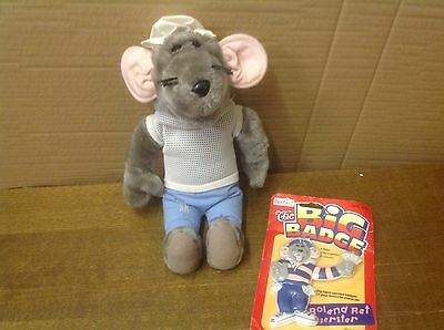 "Roland Rat Toy Vintage 1980's Plush Soft Toy 15"" Tall String Vest + Badge"